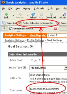 google analytics goal copy screenshot