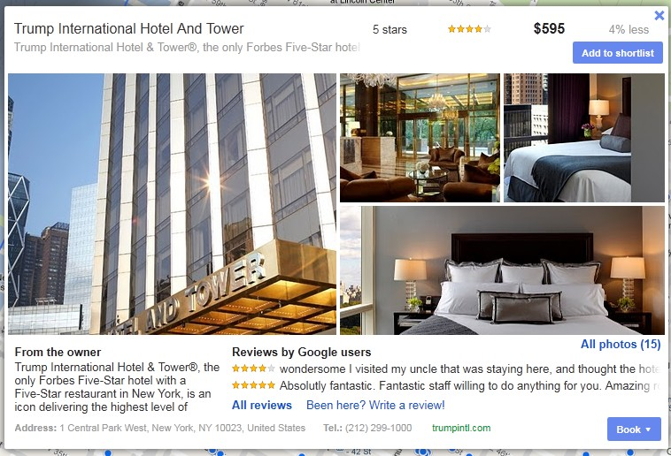 Ficha de hotel en buscador de hoteles de Google