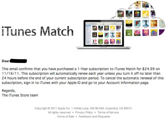 Email confirmación iTunes Match